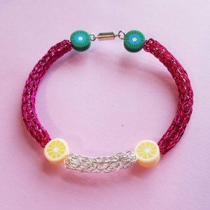 Pink Viking Knit Wire Handcrafted Charm Bracelet